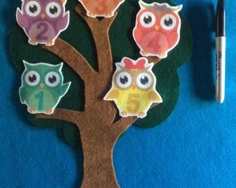 Felt stories 5 owls//2 sided tree//felt board stories numbers//flannel stories math//preschool numbers//preschool gift//educational toy