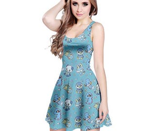 Water Pokemon Dress - Skater Dress Pokemon Dress  Videogame Dress Plus Size Dress Squirtle Mudkip Froakie Piplup Oshawatt Totodile