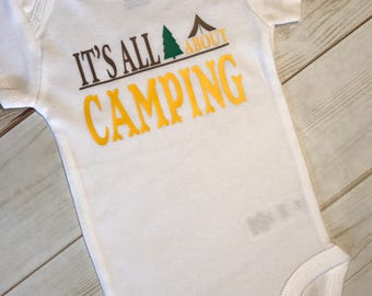 Little Boy's Camping Bodysuit,Its all About Camping,Tent Trees Bodysuit,Outdoors boy,Fishing Hunting Outfit,Baby Shower Gift Present Boyish