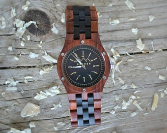 Mahogany and Cherry Gents Wooden Watch by S O N D E R. Mens Wood watch, Bespoken Wooden Watches for men.