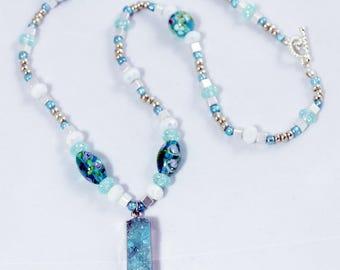 Necklace Turquoise Druzy Quartz Bar Pendant
