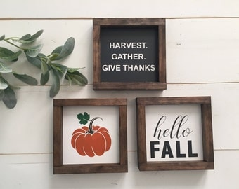Pumpkin, Hello Fall, Harvest Wood Signs