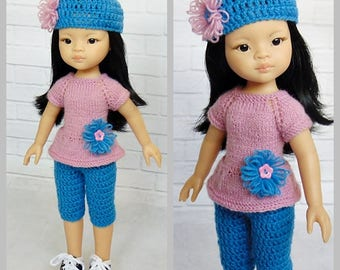 Paola Reina outfit, Paola Reina doll, Paola Reina, Paola Reina clothes, Corolle Les Cheries, 13 inch dolls, leggings, hat, accessories