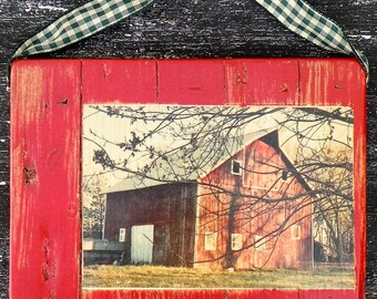 Barn Wood Photo, Old Red Barn Photo, Country Barn Photo, Distressed Barn Wood Plaque, Farmhouse Barn Decor, Barn Gift, Country Rustic Decor