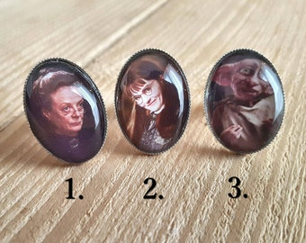 Harry Potter Adjustable Ring / Professor McGonagall / Dobby / Moaning Myrtle / Hogwarts / Wizard / Magic / Christmas / Gift /