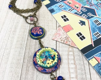 House Necklace, Long Boho Necklace, Polymer Clay Necklace, Spring Necklace, Home Sweet Home, Gift For Her