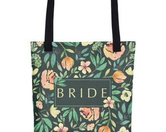Totes For The Bride | Bride To Be Tote | Bride Tote Bag | Wedding Day Tote Bag | Floral Totes For Bride | Floral Wedding Tote | Bridal Totes