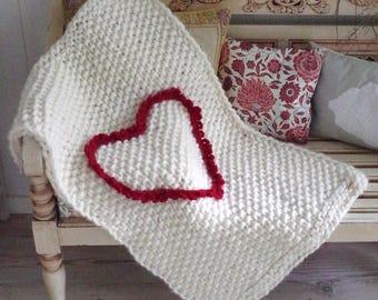 Pure wool baby-heart-blanket