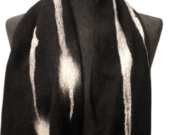 Black silk scarf, Black shawl, Woman scarf, Silk scarf, Merino wool scarf, Felt scarf, Black winter scarf, Nuno felt scarf, Silk shawl, wrap