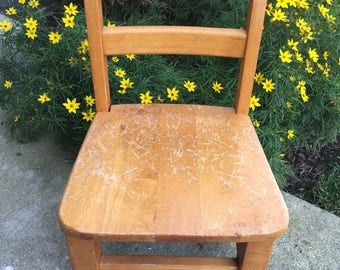 Childu0027s Chair ~ Small Wood Chair ~ Play Table Chair ~ Vintage Wood Chair ~  Toddler