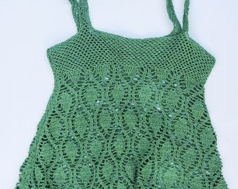 Crochet beach curt dress, vaporous, to wear over the bikini, on the beach, boho chic style