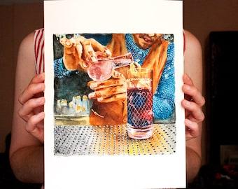 cocktail bar art ORIGINAL watercolor drink art, bar cart art, gift for bartender, cocktail gift, bar artwork, bar wall art, cocktail art