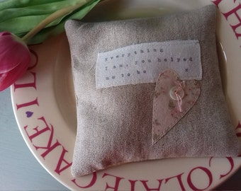 Rustic linen lavender pillow with applique heart and quote for mothers.  Perfect Mother's Day gift, lavender bag, lavender sachet