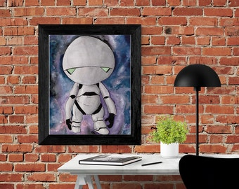 Marvin the Paranoid Android watercolor print