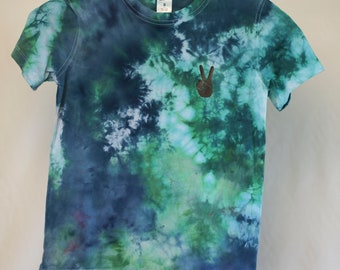 Size 8 - Ready To Ship - Unisex - Children - Kids - Iced Tie Dyed T-shirt - Green - Blue - Red - 100% Cotton - FREE SHIPPING within Aus