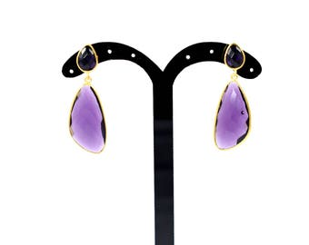 Amethyst stud, purple color earring , double stone earring,natural stone stud, gemstone earring,gemstone jewelry ,gold plating stud,amethyst