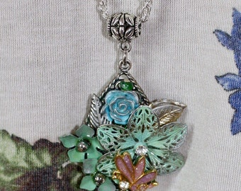 Blue-Green Flower Sculpture Pendant Necklace