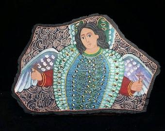 The First Choir, Seraphim - flagstone retablo, OOAK painting.