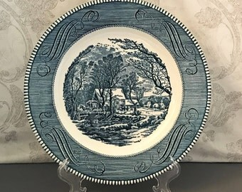 Blue and White Dinner Plate - Currier & Ives Blue - The Old Grist Mill - Royal China (USA)