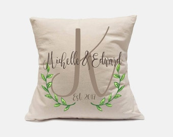 Custom Wedding Pillow Case,Personalized Name And Date Family Pillow Cover,Christmas Gift for Grandparents,Couple Anniversary Cushion Pillow