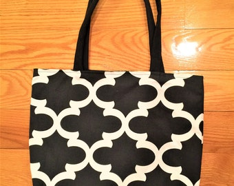 Black and white tote bag, handmade handbag, handmade fabric tote bag, fabric handbag, shoulder tote bag, summer tote, shopping bag