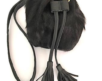 Goat fur black bag