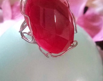 Silver ring and ruby root