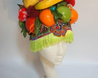 Mardi Gras Fruity Statement Tropical Festival Carnival Carmen Miranda Headdress Floral Pompoms Mardi gras Headpiece