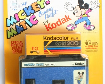 Disney Mickey-Matic 110 Film Camera in Original Packaging//Blue Camera//Micky Mouse