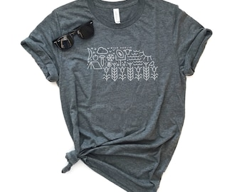 Nebraska State Icons Short-Sleeve Unisex T-Shirt - Omaha, Nebraska Tee, State Tee, Midwest Made, Huskers, Football Tee, Game Day, Fall Tee