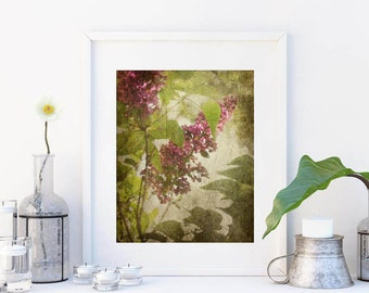 Purple green home decor Flowers photography Rustic wall decor violet wall art Living room wall art Lilac print vintage Spring decor A3