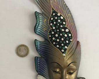 Venetian mask wall ceramic feather