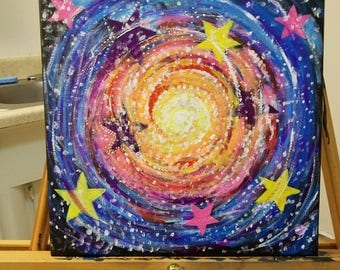 """Original Space Themed Acrylic Painting-""""Journey through the Stars"""""""