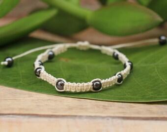 No. 50 Hematite Hemp Macrame Style Bracelet