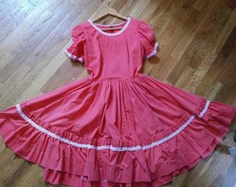 Vintage 1950s Red-Orange Puff Sleeve Swing Rockabilly Shirt Dress