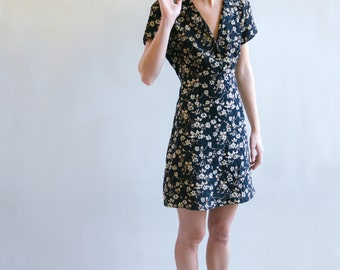 80's Black Floral Print Dress With Tie Back   Short Sleeve Dress   Collared Dress   Tie Back Dress   S-M-L