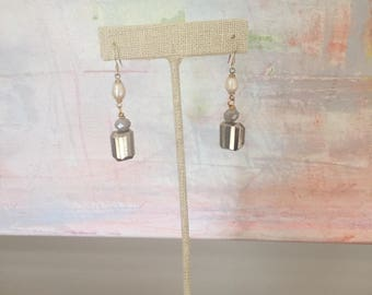 Pearl and pyrite drop earrings