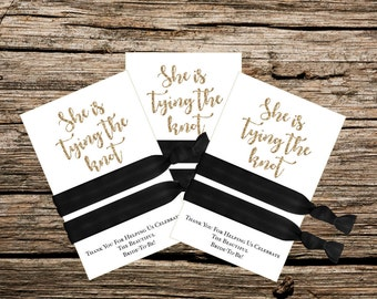 Instant Download - Printable - Bridal Shower Favor - She is Tying the Knot - Gold and White
