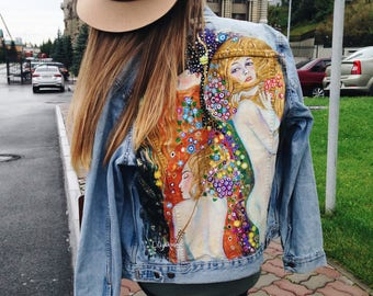 Hand painted denim jacket with Gustav Klimt Water Snakes ll . (! Please read the description !)