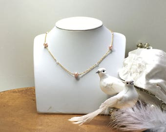 Pink fresh-water pearl Necklace with rose quartz/ gold on silver / vermeil
