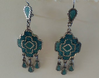 Vintage Mexican Silver and Turquoise Dangle Earrings, Boho, Hippie, Southwestern