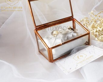 Kylie-Geometric Wedding Glass Ring Box Ring Bearer Ring Holder Lace Ring Pillow Cushion Marriage Proposal Valentine's Gift Engagement Box