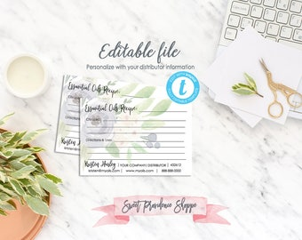 Printable Recipe Cards, Essential Oil Recipe Card, Recipes for Essential Oils, Editable Business Card Template, Recipe Card Instant Download