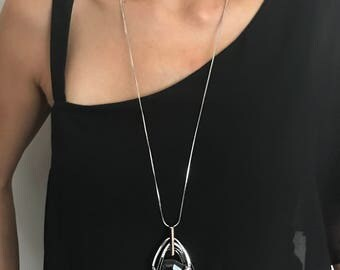 Triple Stack Sparkly Black Crystal Long Sweater Chain Pendant Necklace