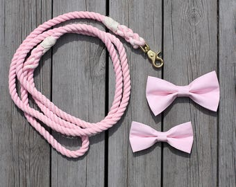 Set of Dog Bow Tie with Matching Rope Dog Leash
