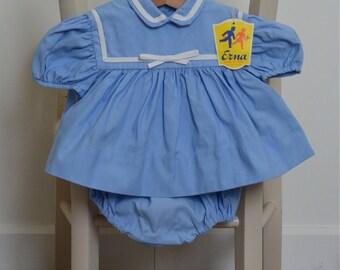 Vintage 50s blue cotton, unique bloomer set