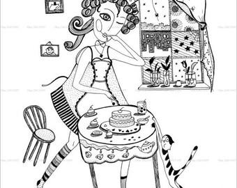 Girl cook, Graphics Art Print, Download Instant