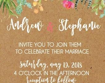 Succulent Wedding Invitation| Desert Wedding Invitation | Cactus Wedding Invitation | Kraft Wedding Invitation