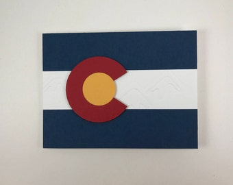 Fun Colorado Flag Snowy Mountains Blank Handmade Greeting Card 303