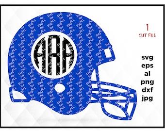 Football Helmet monogram frame SVG, Football SVG, monogram frame, Football Cut Files, Cricut Cutting Files, Silhouette Cut Files, Svg Files